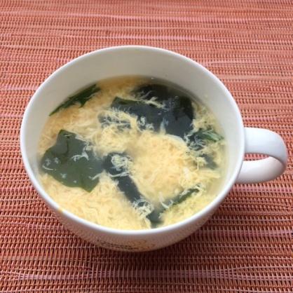 ワカメと水菜のかき卵スープ